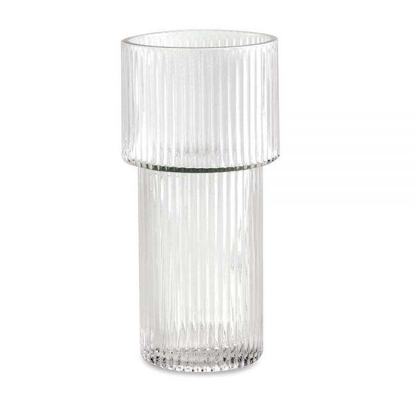 Vaso em Vidro Canelado Transparente Médio